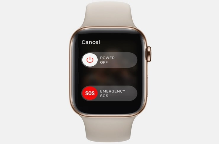 Un reloj Apple Watch en la pantalla de apagado