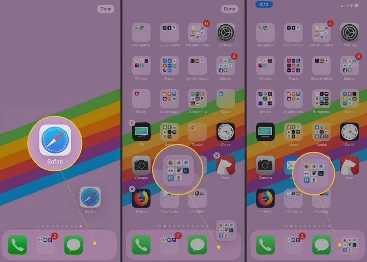 Mover la aplicación Safari fuera del Dock, mover una carpeta dentro del Dock en iOS