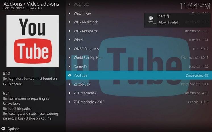 instalar youtube add ons para kodi y mac