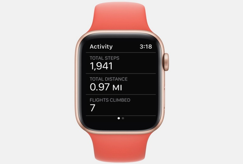 numero de pasos y distancia realizada con apple watch