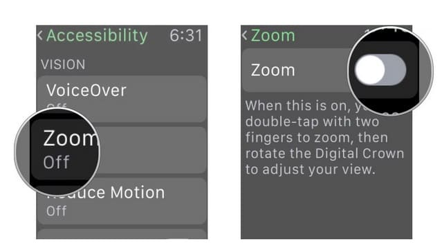 activar el zoom en el smartwatch de apple