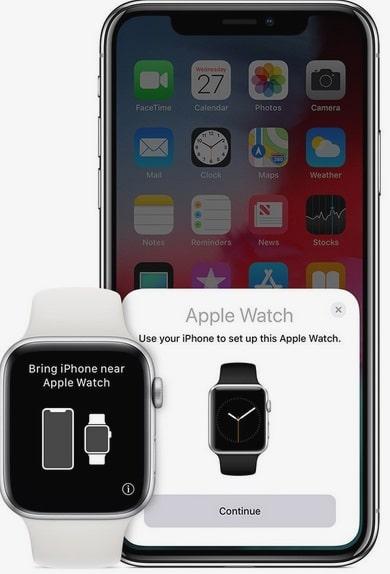 botón i del Apple Watch para emparejar iphone paso 1