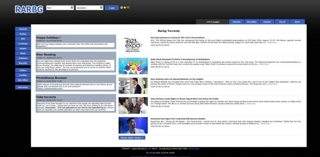 Sitio web de RARBG