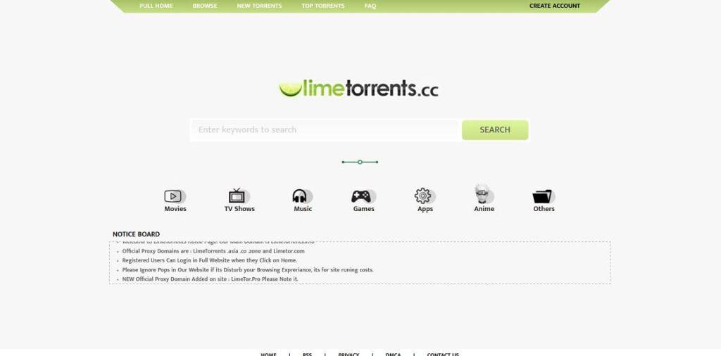 Sitio web de Limetorrents