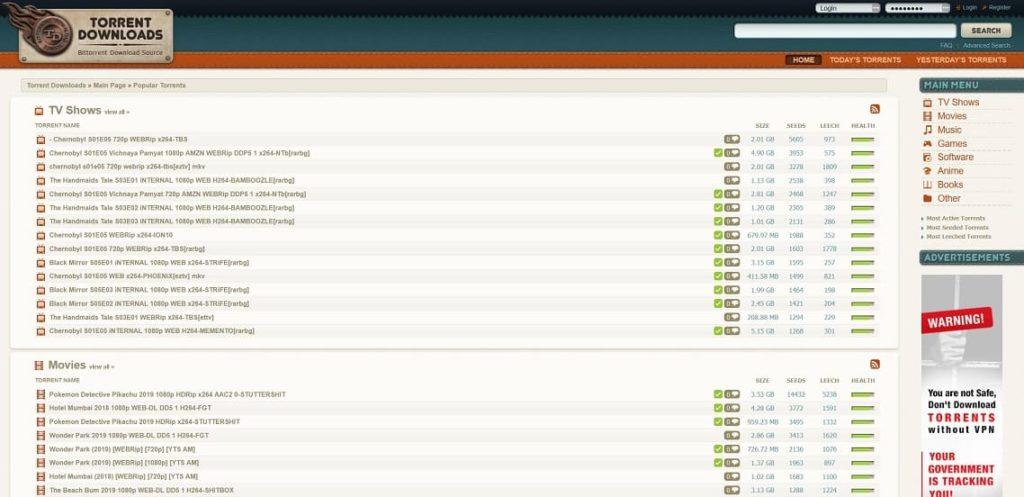 Sitio web de Torrent Downloads