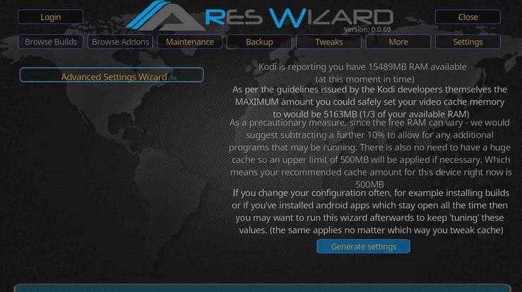 Generación de ajustes de vídeo en Ares Wizard para Kodi.