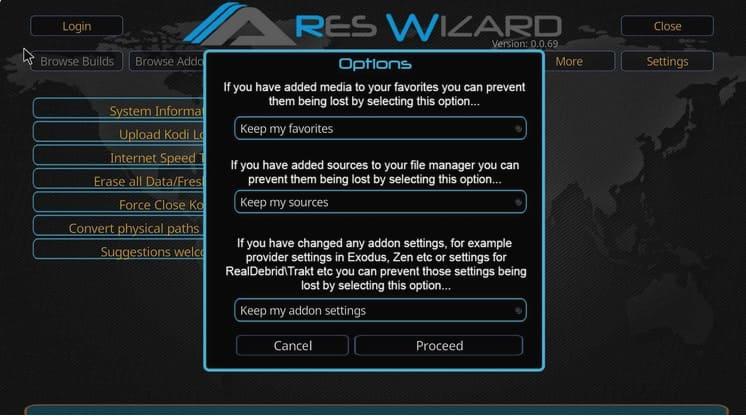 Ares Wizard dentro de Kodi mostrando las opciones para borrar datos.