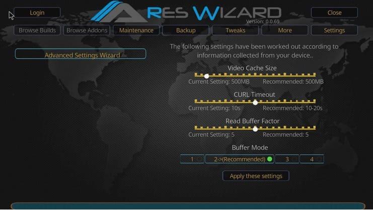 Ajustes avanzados de vídeo para ajustar en Ares Wizard.