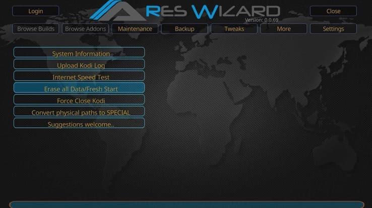 Ares Wizard con Kodi a punto de borrar todos los datos.