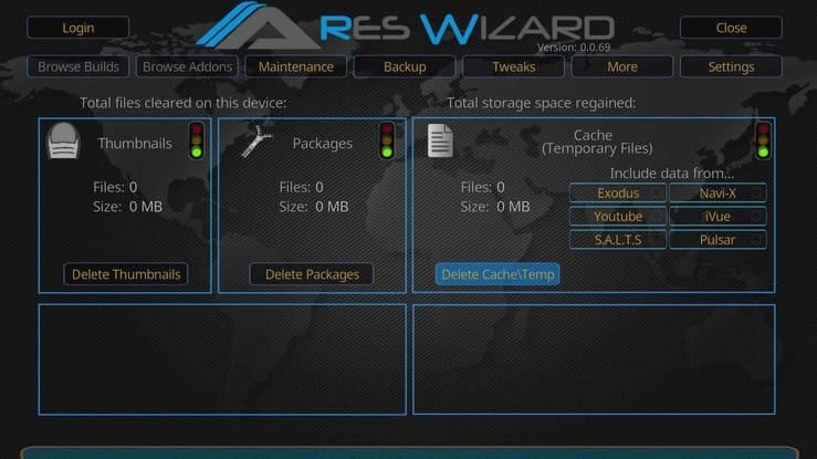 Ares Wizard modo de mantenimiento.