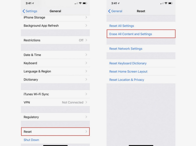 ajustes para resetear o borrar datos iphone