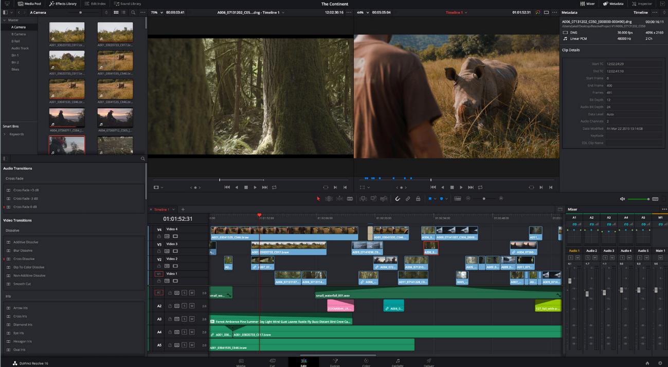 DaVinci Resolver software de edición de vídeo