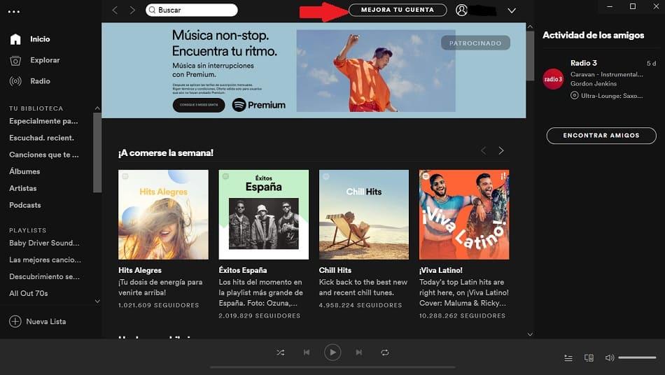 premium en spotify windows 10
