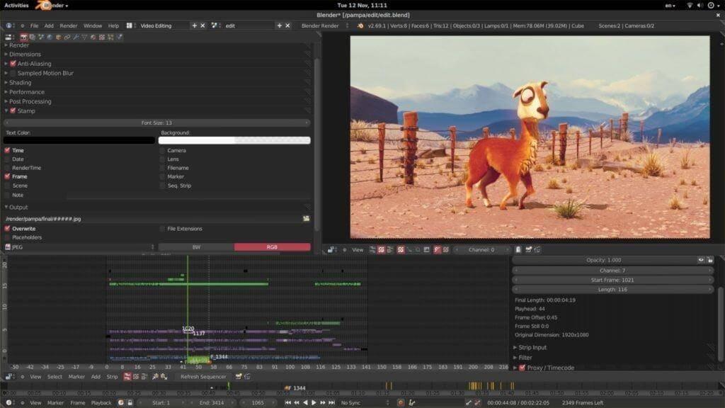Software de edición de vídeo De Blender