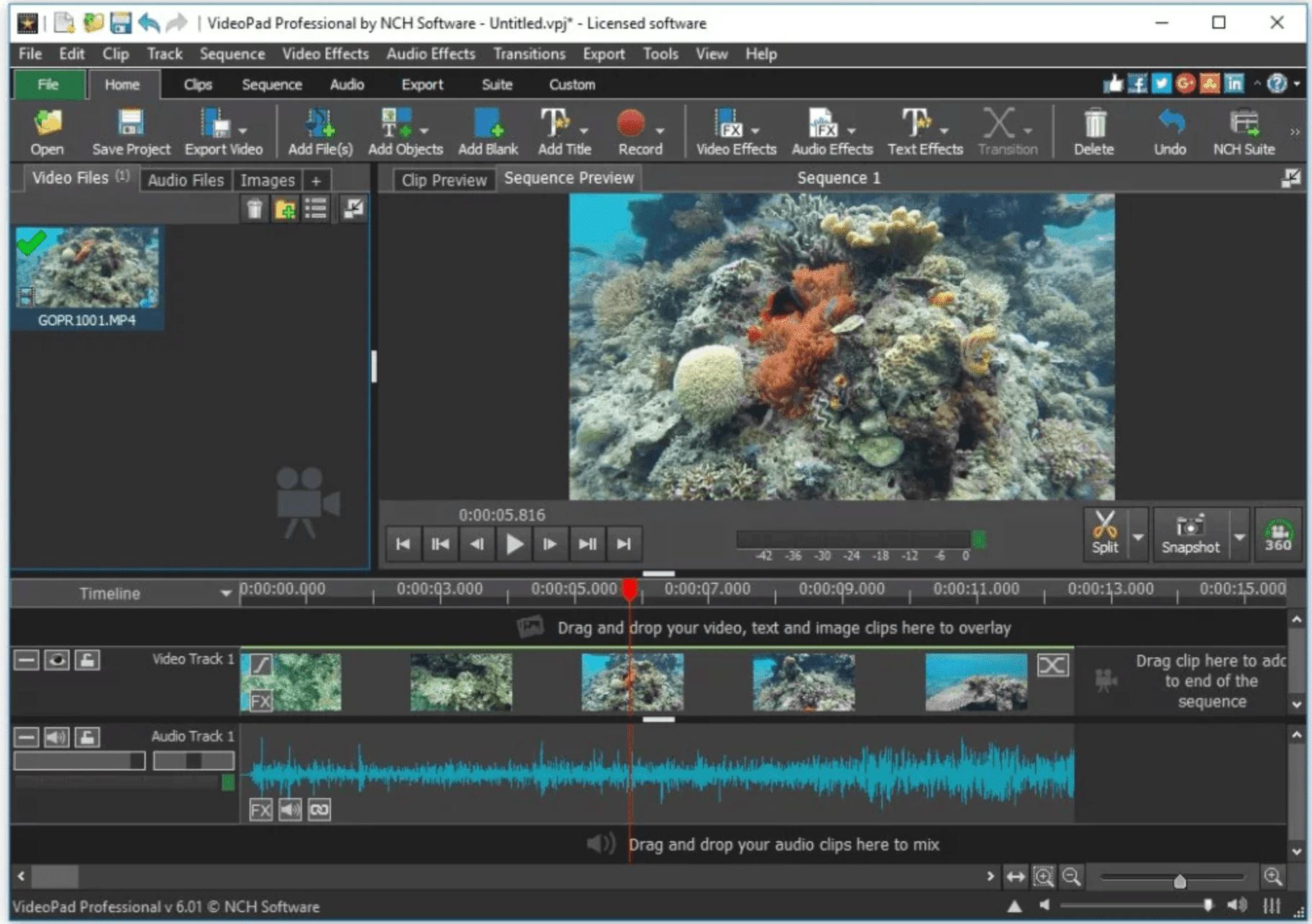 Software de edición de VideoPad Video Windows