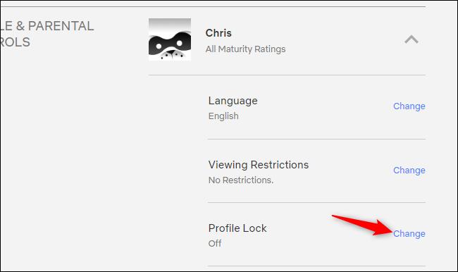 Acceso al bloqueo de perfil en el sitio web de Netflix