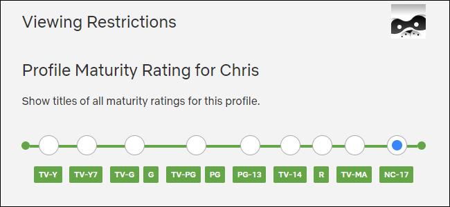 Selección de una calificación de madurez de perfil en Netflix