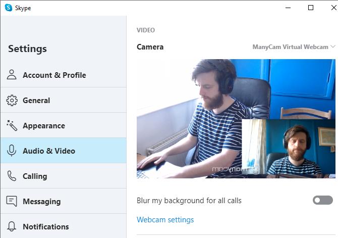 opciones de la cámara de ManyCam Skype