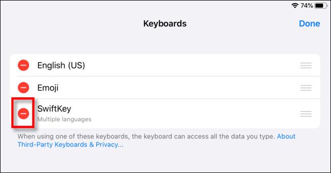 Eliminar teclado de terceros en iPad