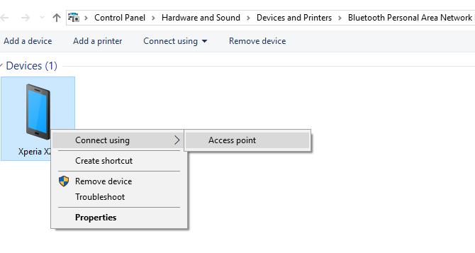 Conéctese a un punto de acceso de anclaje de Android a través de Bluetooth en Windows 10