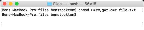 El comando chmod utilizado en el terminal macOS