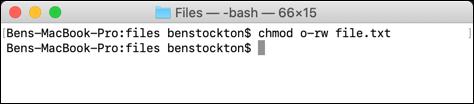 Eliminar permisos de todos los demás usuarios que usan chmod en el terminal macOS