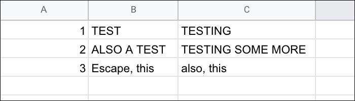 Hoja de cálculo de una lista separada por comas.