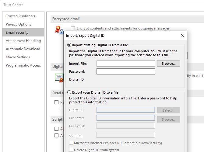cifrado de certificados de seguridad de importación de Microsoft Outlook