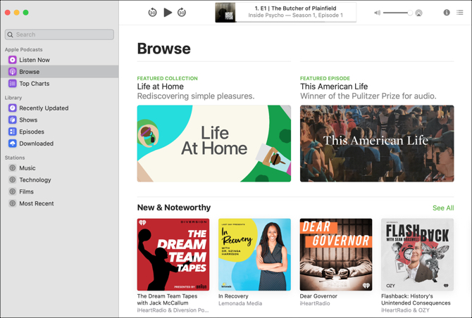Podcasts App Mac-Browse View