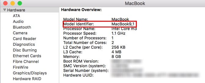 MacBook Model Identifier