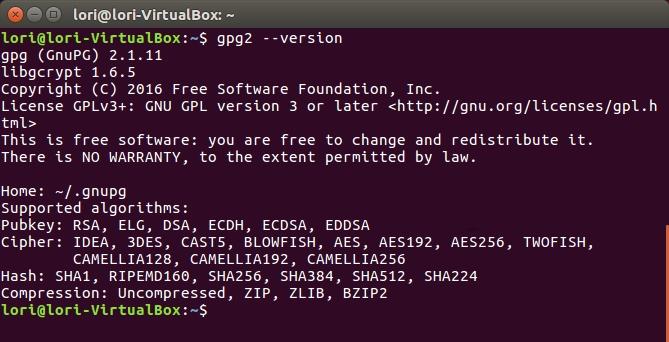 línea de comando linux gpg encryption