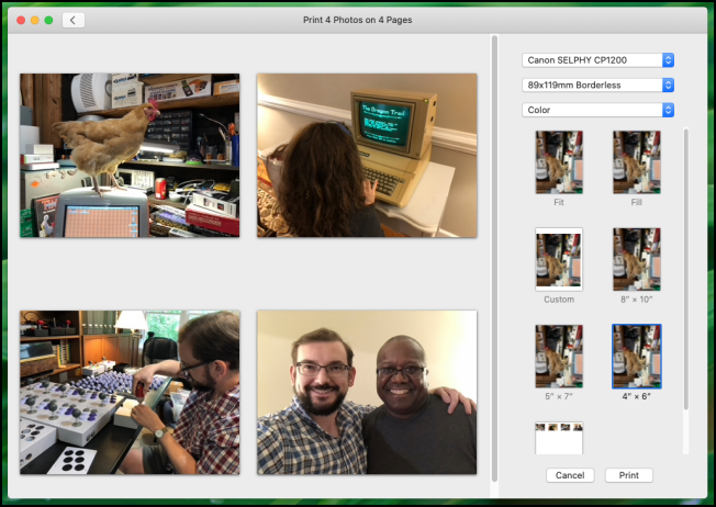 Diálogo de impresión de la aplicación Apple Photos en macOS Catalina