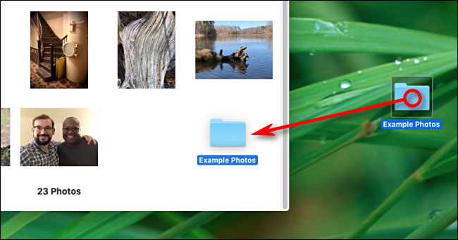 Arrastre una carpeta a la ventana de la aplicación Fotos para importar en Mac