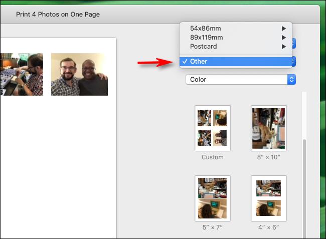 Seleccione Otro en tamaños de papel en la aplicación Fotos en Mac
