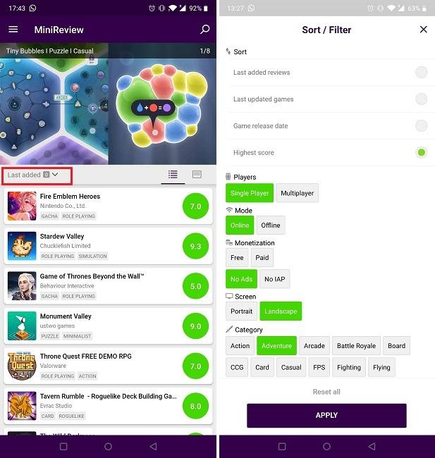 Buscar nuevos juegos en el filtro Minireview de Android
