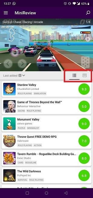 Encuentra nuevos juegos en Android Minireview Views