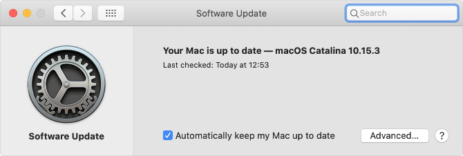 Software Update System Preferences page in macOS