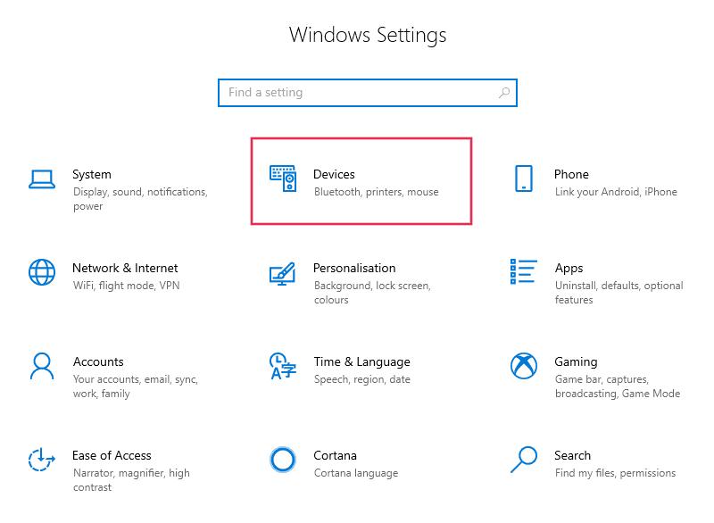 Dispositivos de configuración de Windows