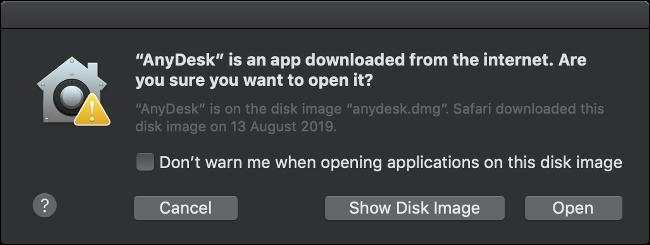 A macOS GateKeeper warning pop-up.