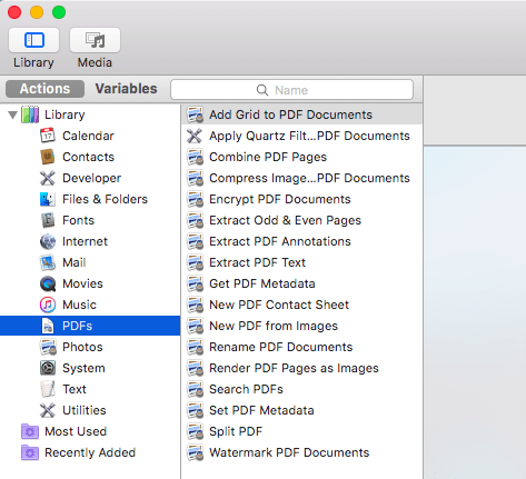 """In Automator's left-hand menu, select the """"PDFs"""" action."""