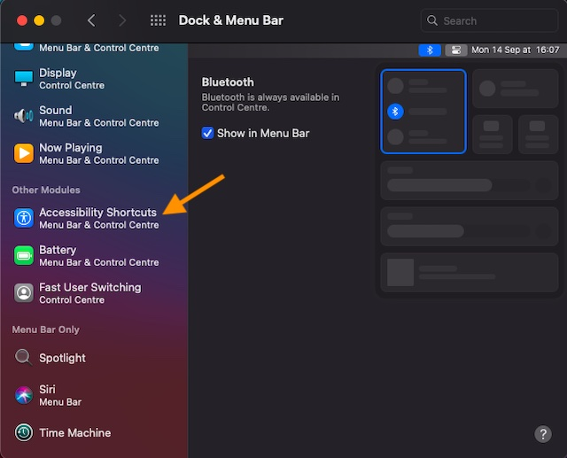 Click on Accessibility Shortcuts