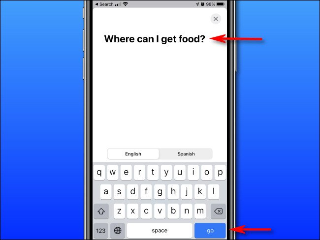 "In Apple Translate on iPhone, enter the text you'd like to translate using the on-screen keyboard, then tap ""go."""