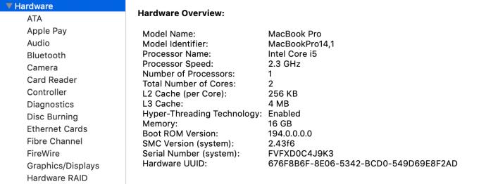 Visión general del hardware de Mac