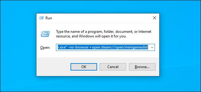 Iniciar Steam con el comando no-browser mediante el cuadro de diálogo Ejecutar