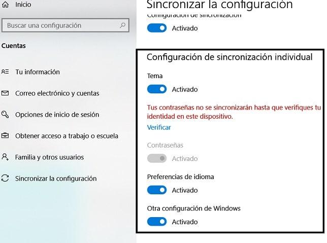 Cambiar la configuración de sincronización