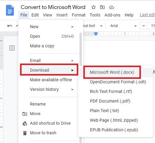 Cómo convertir de Documentos de Google a Microsoft Word Descargar