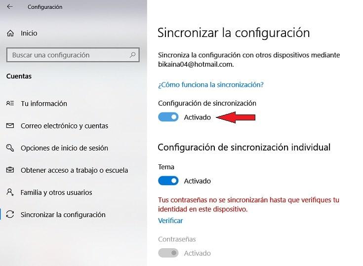 configuración de sincronización en Windows 10