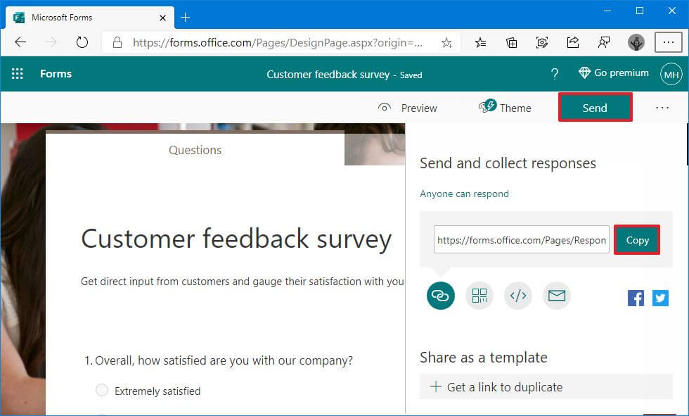 Microsoft Forms publish survey