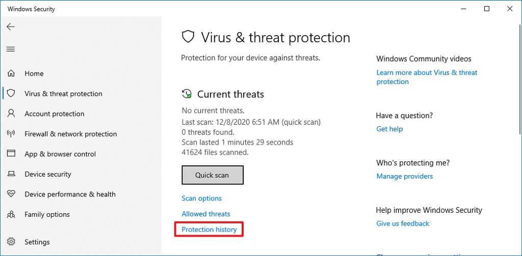 Protection history option