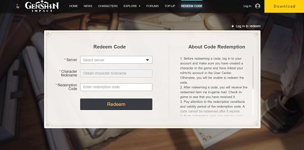códigos de Genshin Impact - canjear código
